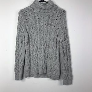 Grey Comfy Cotton Cable Knit Turtleneck Sweater